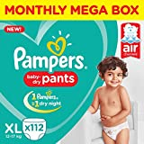 #4: Pampers New X-Large Size Diapers Pants, 112 Count