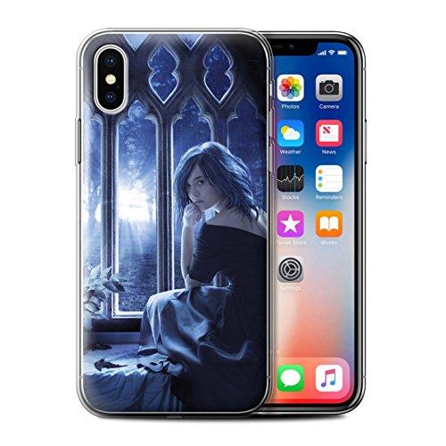 Officiel Elena Dudina Coque / Etui Gel TPU pour Apple iPhone X/10 / Coeur flamboyant Design / Art Amour Collection Feuilles séchées