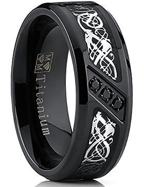 Ultimate Metals Co.® Herren Schwarz Titan Ehering Mit Drachen Design und Schwarz Zirkonia, Bequemlichkeit Passen