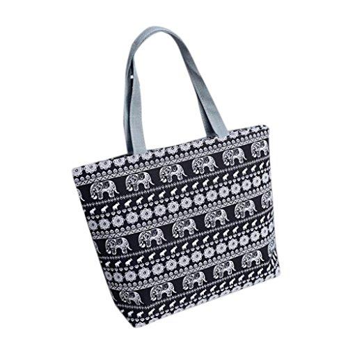 Xjp Women Canvas Handbag Shoulder Bag Shopping Bag (Schwarz)