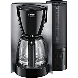 Bosch tka6a643Machine à café Comfort Line, Verseuse en verre, Circuit de automatiquement endab 20/40/60minutes au choix, 1200W, acier inoxydable/noir