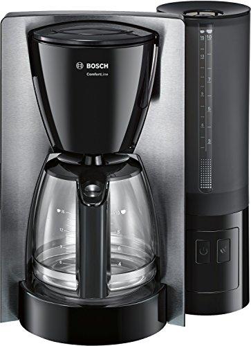 Bosch TKA6A643 TKA6A643-Cafetera de Goteo (Jarra de Vidrio Especial Aroma, selección de desconexión automática en 20/40/60 Minutos, 1.200, 1200 W, 15 Cups, Plástico, Negro, Acero inoxidable