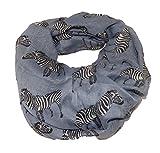 Schal Longschal Halstuch Zebra Safari Afrika Grau Schwarz Weiss Braun (grau)