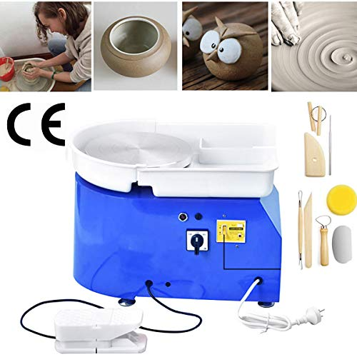InLoveArts 25CM Elektrisch Töpferscheibe Formmaschine mit Festes Pedal DIY-Maschine für Keramikarbeiten Kunsthandwerk aus Ton 350W Blau