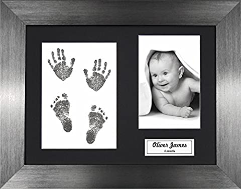 BabyRice New Baby Handprint Footprint Kit, Inkless Wipe with Brushed Pewter Display Frame, Black Mount 0-3 yrs