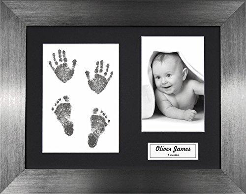 Anika-Baby Kit d'empreintes de pieds et de mains de bébé avec cadre en étain brossé à passe-partout Lingette sans encre 0-3 ans Noir