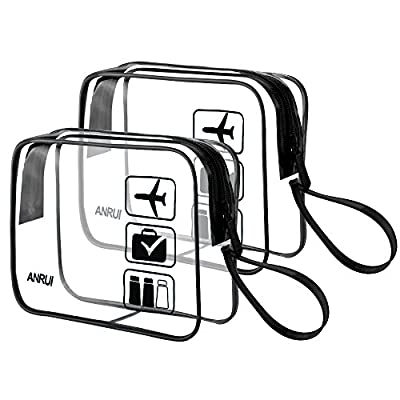 ANRUI TSA-Approved Clear Travel Toiletry Bag With Handle Strap, Travel Carry On Airport Airline Compliant Bag Quart Sized 3-1-1 Kit Travel Luggage Pouch