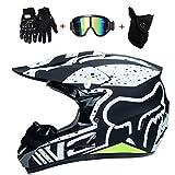 WanSheng Motorrad Motocross Motorradhelme & Windschutzmaske & Handschuhe & SCHUTZBRILLE D.O.T...