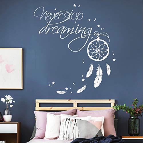 Wandtattoo Schriftzug Never Stop Dreaming mit Traumfänger/schwarz / 35 x 38 cm -