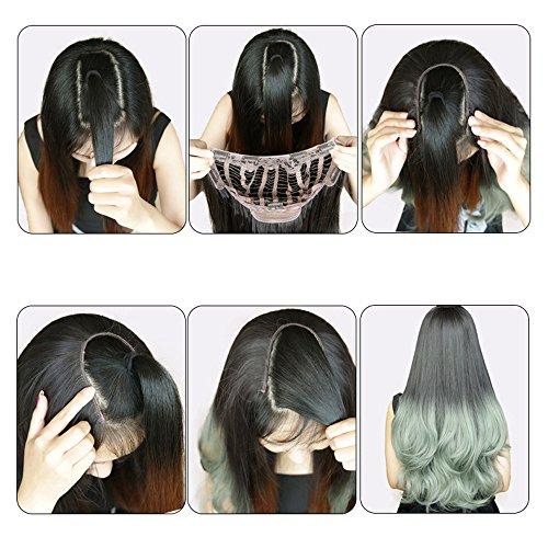 (Rifuli® Perrücke Women Curls Weft Synthetic Hair U Part Lace Wig Lifelike Human Hair Echthaar Perücke)