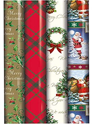 4 Pack of Traditional Christmas Wrapping Paper - Traditional Gold / Red / Christmas Tree / Santa 4 X 10M