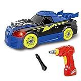 Bau-Spielzeug Sportwagen - 26 Stück mit realistischen Sounds & Lichtern - 2 in 1 Einfacher Bau eines eigenen Sportwagens mit realistischen Bohrmaschine - beste Geschenke für 3+ Jahre alte Jungen