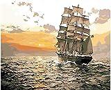 Malen Nach Zahlen Handgemachte Strand Segelboot Gemälde, Hochwertige Leinwandbilder, Erstaunliche Zahlen, Tolle Geschenke-40X50Cm