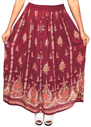 Lunga da donna Indian caviglia lunghezza India Clothing gonne paillettes Maroon 1