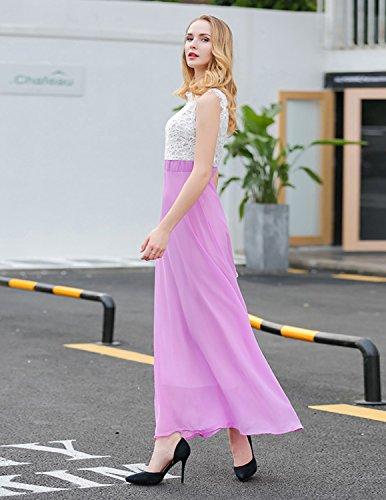 MODETREND Damen Sommerkleid Elegant Spitze Netz-Garn Spleiß Abendkleid  Spitzenkleid Cocktailkleid Strandkleid Kleider Violett ...