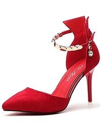 Zapatos de mujer Primavera Verano Otoño Nueva boda nupcial Prom Party Tacones  altos Bombas de microfibra Zapatos solos (Color   Rojo 0b5d2c0bac28