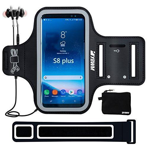 YBWM Schweißfest Sport Armband 6.2 Zoll für Galaxy S8 Plus - Mit Schlüsselhalter,HiFi Lärmisolierende In-Ear-Kopfhörer für Fitnessstudio, Workout, Jogging, Bike Pendeln, Laufen aktiv Sport (Schwarz+)