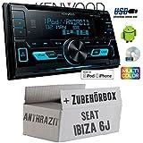 Seat Ibiza 6J 2DIN Anthrazit Schwarz - Kenwood DPX-3000U - 2DIN USB CD MP3 Autoradio - Einbauset