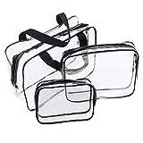 Neceser Transparente, JTDEAL Bolsa Impermeable de PVC (3pcs ), Bolsa de Cosmético Bolsa de Mano Organizador de Viaje Portátil