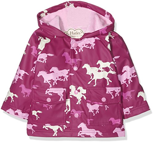 Hatley Baby-Mädchen Regenmantel Infant Raincoat-Fairy Tale Horses, Rosa-Pink, 6-12 Monate