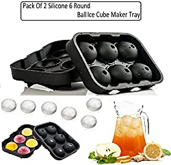 "(Pack Of 2) KARPâ""¢ Flexible Silicone Spherical 6 Round Ball Ice Cube Tray Maker Mold With Lid Perfect Ice Spheres For Whiskey Lovers Cocktails, Non-Alcoholic Beverages"