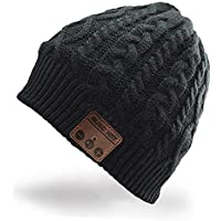 Hebey Wireless Bluetooth Music Hat with Stereo Headphone Speaker Hands-free Talking MP3 Knitting Warm Winter Bluetooth Headset Hat for Fitness Outdoor Sports as Christmas Birthday Gifts (Black)