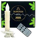 Baumkerzen kabellos mit Fernbedienung |8er Set LED Kerzen weiß mit Metall Clip Kerzenhalter Silber | Weihnachtsbaumbeleuchtung