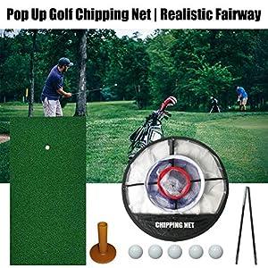 Supertop Golf-Übungsset, Golfmatte Zusammenklappbares Golf-Chipping-Netz Realistisches Fairway-Rasen-Chipping Golf-Zielzubehör Trainingshilfen Indoor-Hinterhof-Übungsschwung