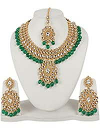 MUCH MORE Stuning Gold Tone Kundan Neckalce With Green Dropping Wedding Jewellery