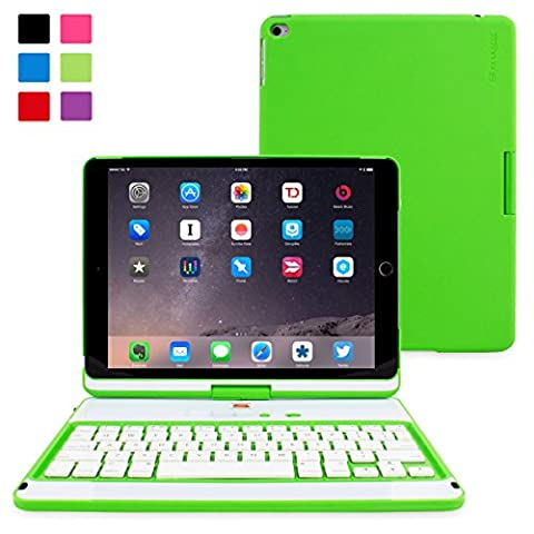 iPad Air 2 Keyboard, Snugg [Green] Wireless Bluetooth Keyboard Case Cover [Lifetime Guarantee] 360° degree Rotatable Keyboard for Apple iPad Air 2