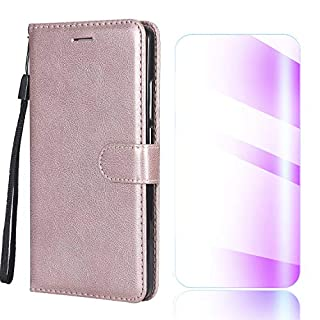 The Grafu Sony Xperia XA1 Case, Shockproof Leather Wallet Flip Case [with Free Tempered Glass Screen Protector] Stand Function Cover for Sony Xperia XA1, Rose Gold