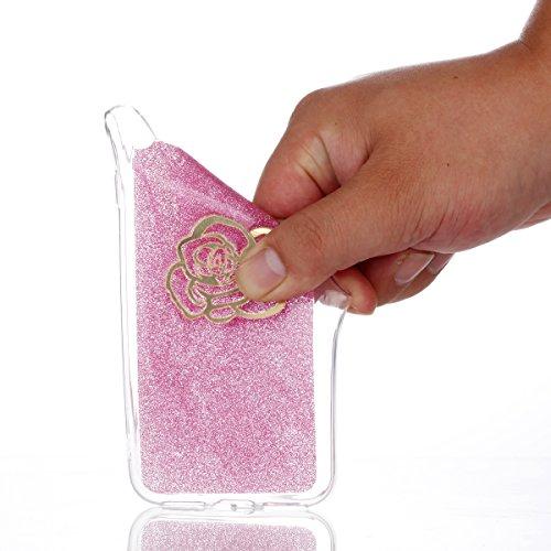 iPhone X Coque, Voguecase [Anti-Choc] [Ultra-Fine] TPU Silicone Transparent avec Bling Poudre Interne, Flexible et Souple Etui Housse pour Apple iPhone X (Rêve capteur 07)+ Gratuit stylet l'écran aléa Rose avec bord doré