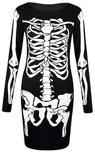 FK Styles Damen Midi-Kleid lange Ärmel Skelett Druck bodycon
