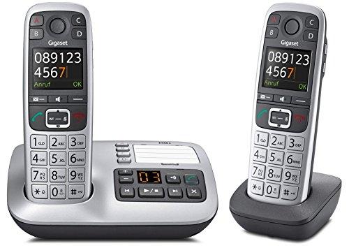 Gigaset E560A DUO Set mit 2 Mobilteilen, DECT-Schnurlostelefon (analog) mit Anrufbeantworter