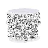 Demiawaking 10m/rolle runde Perlen Kette Hochzeit Party hausgarten Dekor DIY handwerk (Silber)