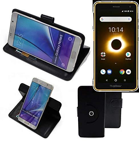 K-S-Trade® Hülle Schutzhülle Case Für -Ruggear RG650- Handyhülle Flipcase Smartphone Cover Handy Schutz Tasche Bookstyle Walletcase Schwarz (1x)