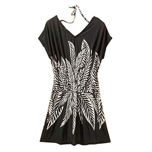 QIYUN.Z Les Femmes Occasionnels D'ete Short Manches Fashion V Decollete Imprime Tunique Noir