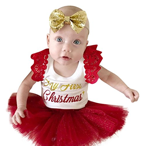 eborenes Baby Tutu Kleid Weihnachten Outfits Kleidung Spielanzug Bodysuit Prinzessin Fancy Kostüm Kleinkind Party oder photoshoot Hochzeit Babybekleidung (Rot, 12 Monate) (Rentier Kleinkind Kostüm)