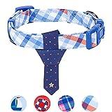 Blueberry Pet Blautöniges Schottenkaro Stil Krawatte Hundehalsband, M, Hals 37cm-50cm