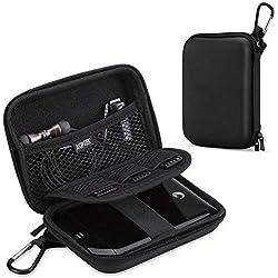 AGPTEK Housse Disque Dur de 2.5pouce, Etui de Rangement Portable Housse de Protection Voyage pour Disque, Clé USB, Cable USB, Lecteur mp3(Compatible Le mp4 H3),etc-Noir