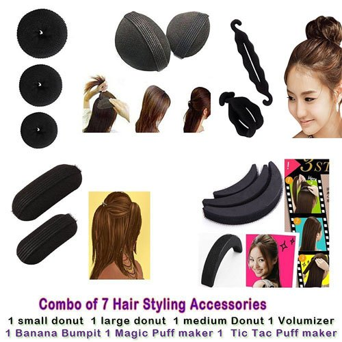 Blackbond Combo of 7 hair accessories 3pcs. Donuts 1pcs Magic Puff 1pcs. volumizer 1pcs. Banana Bumpit 1pcs. Tictac Puff