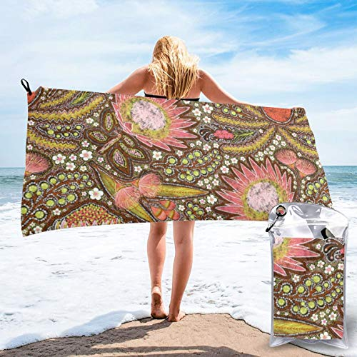 Pads bag Quick Drying Beach Towel Tribal Aussie Flowers Oversized Extra Large Big Outdoor Travel Pool Beach Towel 27.5