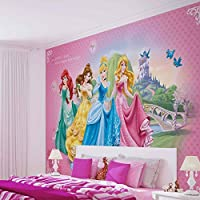 Disney Princesses Cinderella Belle - Photo Wallpaper - Wall Mural - EasyInstall Paper - Giant Wall Poster - XXL - 312cm x 219cm - EasyInstall Paper - 3 Pieces