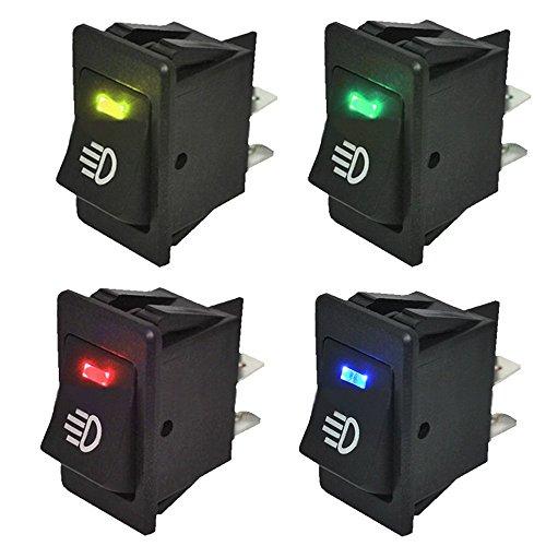 Mintice™ KFZ Auto Kippschalter Druckschalter Wippschalter Schalter 12V Blau Rot Grün Gelb LED Licht Nebelschalter -