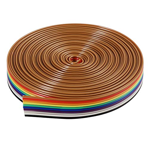 UEETEK IDC-Flachbandkabel, 10Pin, 5m, IDC, Regenbogenfarben