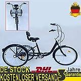 YIYIBY Erwachsene Fahrrad, 6-Gang 24 Zoll 3 Rad Erwachsene Dreirad Fahrrad Reiten Pedal Cruiser Fahrrad Faltkorb