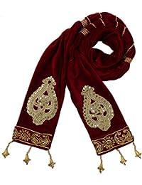 Ethnic Velvet Men Sherwani Dupatta Heavy Design with Round Lace - Maroon 2.5 Mtr Length