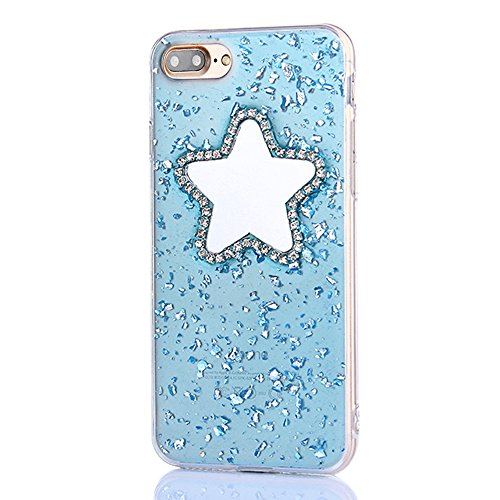 Custodia iPhone 6sPlus, CLTPY iPhone 6Plus Morbido TPU Cover Brillantini Sparkle Diamante Star Makeup Mirror Design Semi-trasparente Protettivo Case per Apple iPhone 6Plus/6sPlus + 1 x Stilo - Rosa Ro Blu