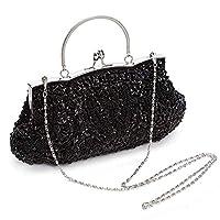 AAGOOD Beaded Sequin Fashion Handbags Vintage Kissing Lock Handmade Glitter Evening Bags for black wedding parties