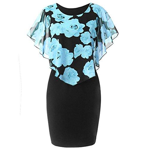 VEMOW Elegant Damen Schlauchrock Casual Plus Size Rose Print Schmetterlingshülse Chiffon O-Neck Rüschen Minikleid (Himmelblau, 46 DE/XL CN) -